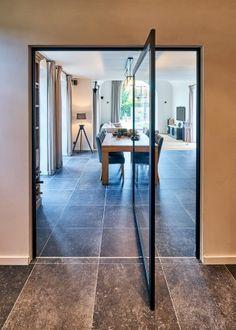 """""""Steel look"""" pivot door with offset axis pivot hinge. Pivot Doors, Sliding Doors, Design Awards, Glass Door, Plank, Oversized Mirror, Flooring, Modern, Furniture"""