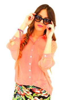 Neon Blouse in Coral