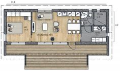 LATO 58 A - Kannustalo Cabins And Cottages, Cabin Homes, Small House Plans, Interior Architecture, Tiny House, Floor Plans, House Design, How To Plan, Riga