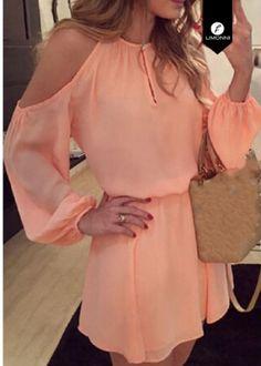 Stylish Round Collar Long Sleeve Pure Color Cut Out Chiffon Women's Dress Chiffon Dresses… - moda Women's Dresses, Club Dresses, Casual Dresses, Short Dresses, Dress Long, Cheap Dresses, Dresses Online, Dresses 2016, Long Sleeve Summer Dresses