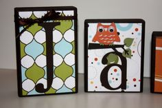Personalized Name Blocks - like the branch... with a monkey maybe. Shana what do u think?