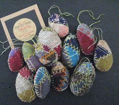 Primitive Egg Ornaments-Set/12 Folk Art Egg by FolkArtWorks