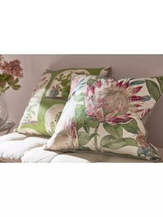 Sanderson King Protea Cushion, Rhodera at John Lewis & Partners Sage Green Walls, Sanderson Fabric, King Protea, Shell Station, John Lewis Shops, Lounge Decor, Cushion Filling, Pink Accents, Home Collections