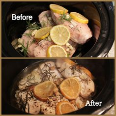 Wholesome Dinner Tonight: Lemon Rosemary Chicken {Crock Pot} pair with steamed veggies or salad and yum! Light feeling, very flavorful, I added a tad bit more rosemary but overall yum! Slow Cooker Recipes, Crockpot Recipes, Chicken Recipes, Cooking Recipes, Healthy Recipes, Free Recipes, Chicken Ideas, Detox Recipes, Unique Recipes