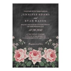 Can use with zazzle groupon VINTAGE CHALKBOARD FLOWER WEDDING INVITATION