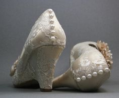 Custom Wedding Shoes -- Dark Ivory Peep Toe Wedding Wedges with Lace Overlay, Pearl Buttons on Heel and Dark Ivory and Pearl Flowers on Etsy, $275.00