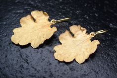 Carlogiuliano Le Foglie Earrings  Handmade Sterling Silver Earrings Yellow Gold Plating