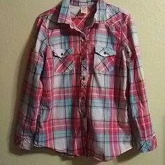 Pretty Plaid Shirt 100% cotton pretty pink with blue plaid shirt size M (8-10) but more like a L. Faded Glory Tops Button Down Shirts