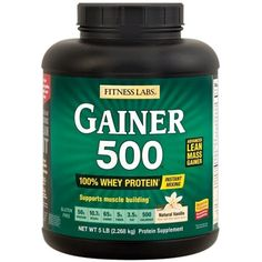 Fitness Labs Gainer 500, Natural Flavors and Sweeteners (Vanilla) -- Want to know more, click on the image. (This is an affiliate link) #SportsNutrition