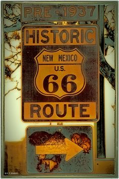 Route 66 sign outside Albuquerque, New Mexico, pre 1937