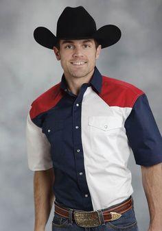 Roper Americana Mens Blue 100% Cotton S/S Patriotic Snap Western Shirt