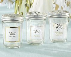 Personalized Glass Mason Jar - Gold Foil (Set of 12)