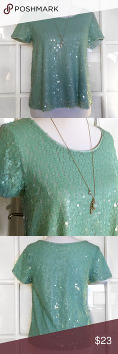F21 Mint Green Sequin Blouse Fabulously sparkly, this mint green Blouse by Forever 21 is amazing! Soft interior shell, short sleeve, loose fit, hits at hip, Hand Wash (or machine wash inside out on delicate) Hang Dry Forever 21 Tops Blouses