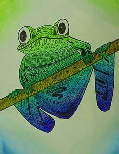line design with frogs