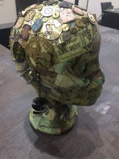 Mannequin head has been decoupaged with steampunk theme paper and then decorated with vintage watch faces and clock parts. Therapy Ideas, Art Therapy, Styrofoam Head, Mannequin Heads, Collage Ideas, Assemblage Art, Salon Ideas, Shabby Chic Furniture, Paper Mache