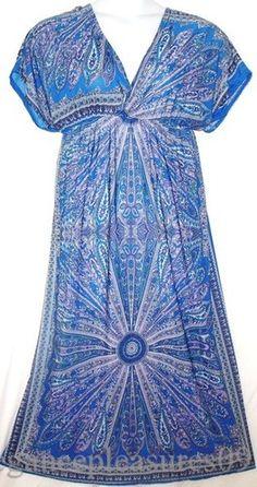 3X 2X CAFTAN MAXI DRESS~paisley print~KIMONO~jersey~FLORAL~empire & TORRID RING