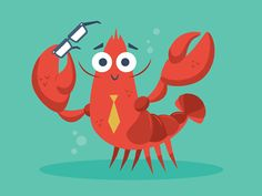 Lobster character mascot concept for a client's website.