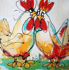 schilderij van kippen - Google zoeken