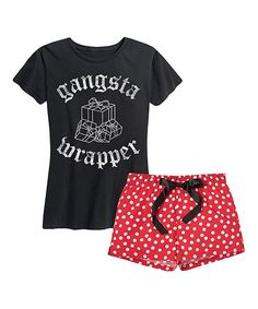 Flaunt a playful holiday look in this adorable pajama set that features flirty shorts and a cozy tee.