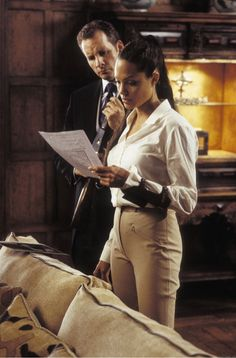 TOMB RAIDER: Angelina Jolie's role of Lara Croft called for an aristocratic look. With riding pants and a button-up blouse, she fits the look.