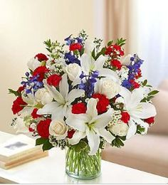 Red white and blue flowers floral arrangements summer for Red white blue flower arrangements