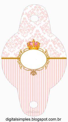 Corona Dorada en Fondo Rosa: Invitación para Imprimir Gratis e Imprimibles Gratis para Fietas.