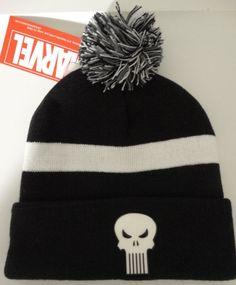 The Punisher Skull Marvel Comics Chrome Weld Cuff Knit Pom Hat Nwt #Marvel #Beanie
