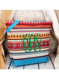 www.ewam.com Market Shopping Tote in Pink Aztec with Blue Trim