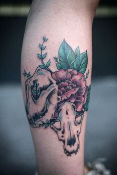 Thigh flower tattoo skull