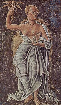 """Demeter/Ceres. La diosa Deméter es la divinidad protectora de las cosechas y la fertilidad de los campos, la responsable del nacimiento y la regeneración de las plantas. """"Demeter Deméter (Ceres romanos) Deméter era uno de los 12 habitantes del Olimpo junto a Zeus. Era hija de Cronos y Rea, y hermana de Zeus, Poseidón, Hades, Hera y Hestia. Como diosa de la tierra, la agricultura y los cereales, era una de las diosas griegas más importantes."""""""
