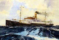 La Palma - watercolor from Francisco Noguerol Nautical Marine, Nautical Art, Ship Paintings, Acrylic Paintings, Nautical Painting, Merchant Navy, Stormy Sea, Art Graphique, Ship Art