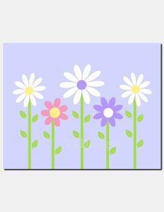 Daisy Garden Wall Art Kids Wall Art Baby Girl Nursery Decor