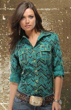6a64304a Cruel Girl Women's Long Sleeve Print Button Down Shirt - Green $44.97  Cowgirl Outfits, Western