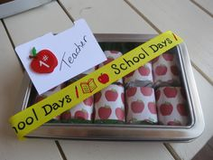 """For Sale:  Hinged Tin with Ten Hershey's Chocolate Milk Nuggets, mini file folder to personalize inside and a cool and fun ribbon to top it off. If you are local and want to purchase """"hollar"""" $8.00 Cash only and buyer picks up!"""