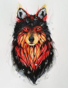 Fire Wolf Art Print by Jonna Lamminaho