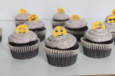 Which Emoji do you use most?         #emoji #chocolate #cupcakes #cookiesncream #uptodate #techy #cakecanvas #smallbusiness #gta Personalized Cakes, Chocolate Cupcakes, Gta, Emoji, Cookies, Canvas, Desserts, Food, Crack Crackers