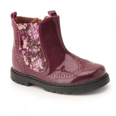 Chelsea, Wine Patent/Floral Elastic Girls Zip-up Boots