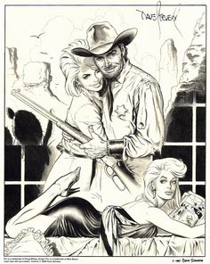 """""""Lust and the Dust,"""" a signed Dave Stevens print featuring Doug Wildey's Rio and Mike Baron's Ginger Fox. This was offered when Comico marketed a two-pack of the first Rio graphic novel and Baron's The World of Ginger Foxin 1988."""