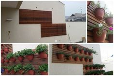 Instalação do jardim do muro que aumentamos: O estrado de madeira e os vasos instalados.