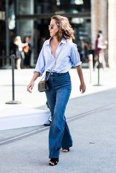 Just loving this basic high-waist denim look. #catchatrend #streetstyle #denim #jeans #yvessaintlaurent #blue