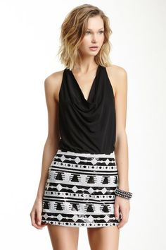 Tribal Sequin Mini Skirt / Draped Top