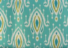 Tempo - Surat Peacock - Turquoise Ikat - Fabric by the Yard