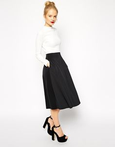 ASOS Midi Dress in Texture with Scuba Skirt and High Neck