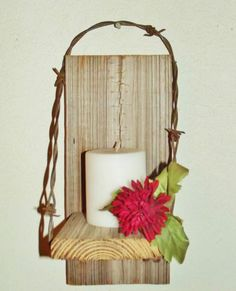 Barn Wood and Barb Wire Sconce Wall Shelf rustic country home decor. Love the handle on this one! $11.95