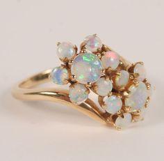 Gold 14K Floral Opal Ring