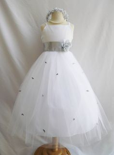 Flower Girl Dress WHITE/Silver RB3 Wedding Children Easter Bridesmaid Communion Yellow Turquoise White Silver Red Cherry Purple Plum on Etsy, $29.99