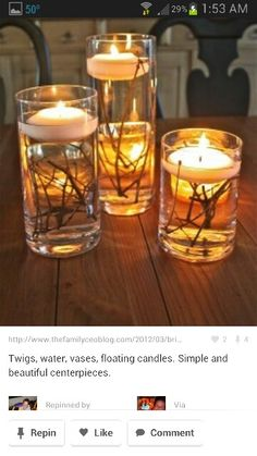 Twig and candle Centerpieces