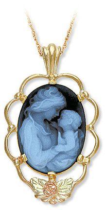 14k white gold blue agate cameo mother child diamond cameo pendant black hills gold cameo mother child pendant aloadofball Images
