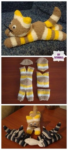 DIY Sock Kittens Tutorial - Free Sewing Pattern & Video <br> Hi, crafters, want to sew the cute in the coming cold season? This little sock kittens are perfect easy to cut and sew project for your and your kids. Diy Sock Toys, Sock Crafts, Crafts With Socks, Plushie Patterns, Crochet Blanket Patterns, Bear Patterns, Doll Patterns, Softie Pattern, Sewing Patterns Free