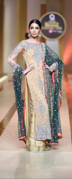 Yasmeen by Akram Pakistani Bridal Dresses Displayed newest official at Qmobile Sound Bridal fashion Week 2017 in Karachi.Yasmeen by Akram selection Latest Bridal Dresses, Pakistani Bridal Dresses, Wedding Dresses, Housewives Of Atlanta, Real Housewives, Ethnic, Sari, Asian, Suits